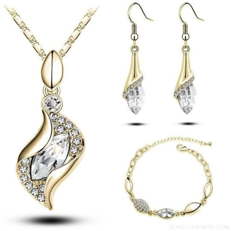 Luxury Design Gold Filled Colorful Austrian Crystal Drop Jewelry Sets - White G - Custom Made | Free Shipping