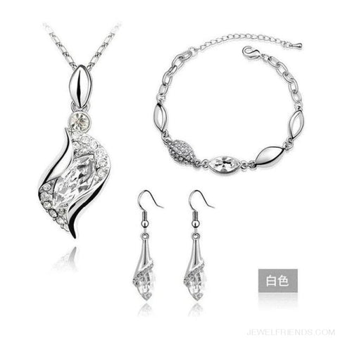Luxury Design Gold Filled Colorful Austrian Crystal Drop Jewelry Sets - White S - Custom Made | Free Shipping