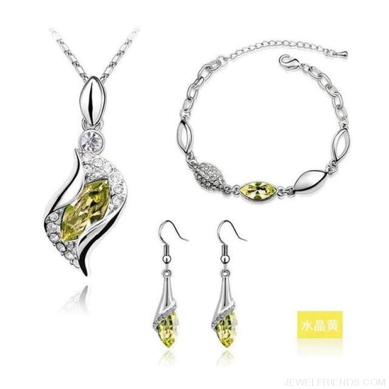 Luxury Design Gold Filled Colorful Austrian Crystal Drop Jewelry Sets - Yellow S - Custom Made | Free Shipping