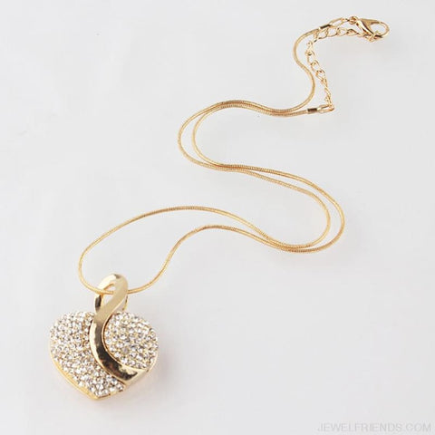 Image of Luxury Gold-Color Romantic Austrian Crystal Heart Shape Jewelry Sets - Custom Made | Free Shipping