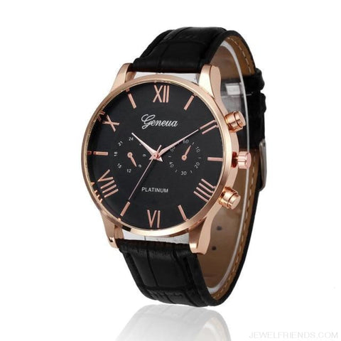 Image of Luxury Gold Pu Leather Wristwatch - Black / China - Custom Made | Free Shipping