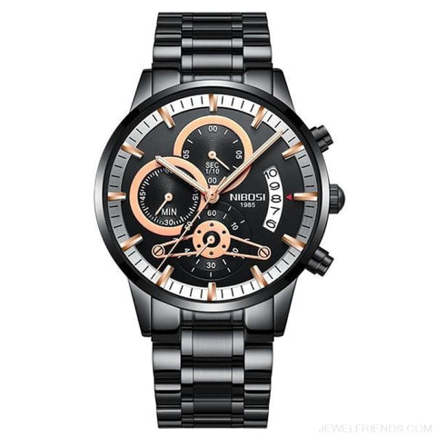 Luxury Masculino Sports Watches Waterproof - Black Rose Gold Hand 1 - Custom Made | Free Shipping