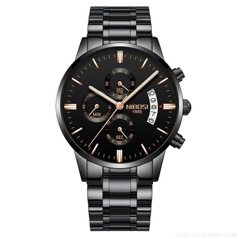 Luxury Masculino Sports Watches Waterproof - Black Rose Gold Hand - Custom Made | Free Shipping