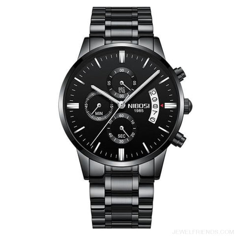 Luxury Masculino Sports Watches Waterproof - Black Silver Hand S - Custom Made | Free Shipping