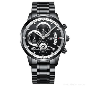 Luxury Masculino Sports Watches Waterproof - Black Silver S - Custom Made | Free Shipping