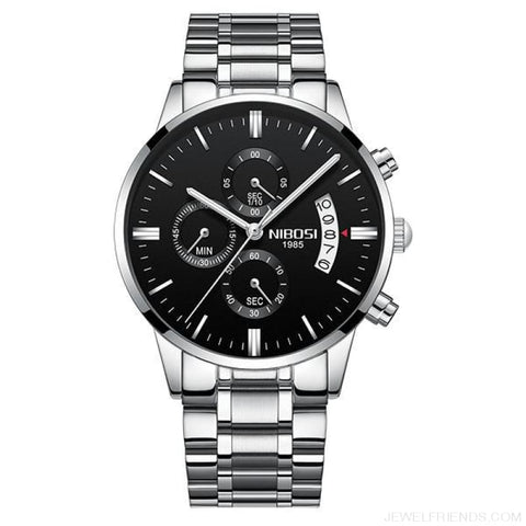 Luxury Masculino Sports Watches Waterproof - Silver Black S 1 - Custom Made | Free Shipping