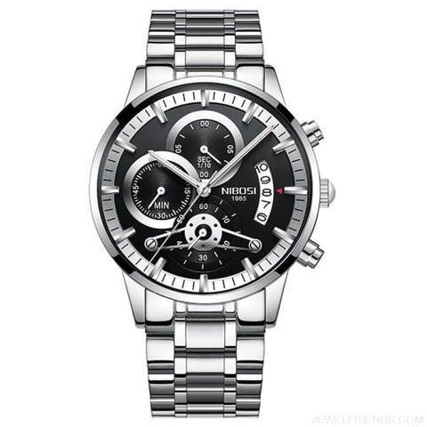 Luxury Masculino Sports Watches Waterproof - Silver Black S - Custom Made | Free Shipping