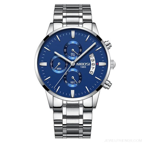 Luxury Masculino Sports Watches Waterproof - Silver Blue S - Custom Made | Free Shipping