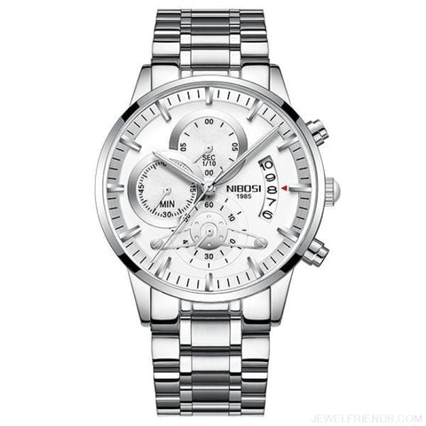 Luxury Masculino Sports Watches Waterproof - Silver White S 1 - Custom Made | Free Shipping
