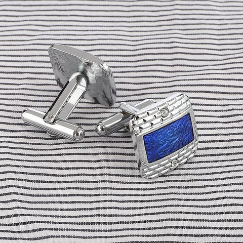 Image of Luxury Navy Blue Design Silver Plated Cufflinks - Custom Made | Free Shipping