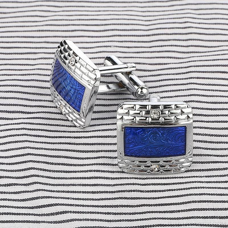 Luxury Navy Blue Design Silver Plated Cufflinks - Custom Made | Free Shipping