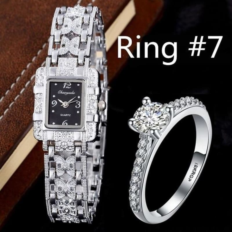 Luxury Rhinestone Bracelet Watches With Ring - Watch With R7 - Custom Made | Free Shipping