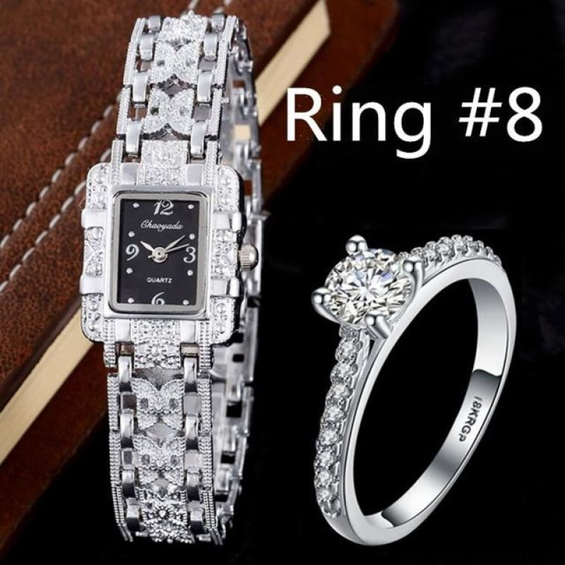 Luxury Rhinestone Bracelet Watches With Ring - Watch With R8 - Custom Made | Free Shipping