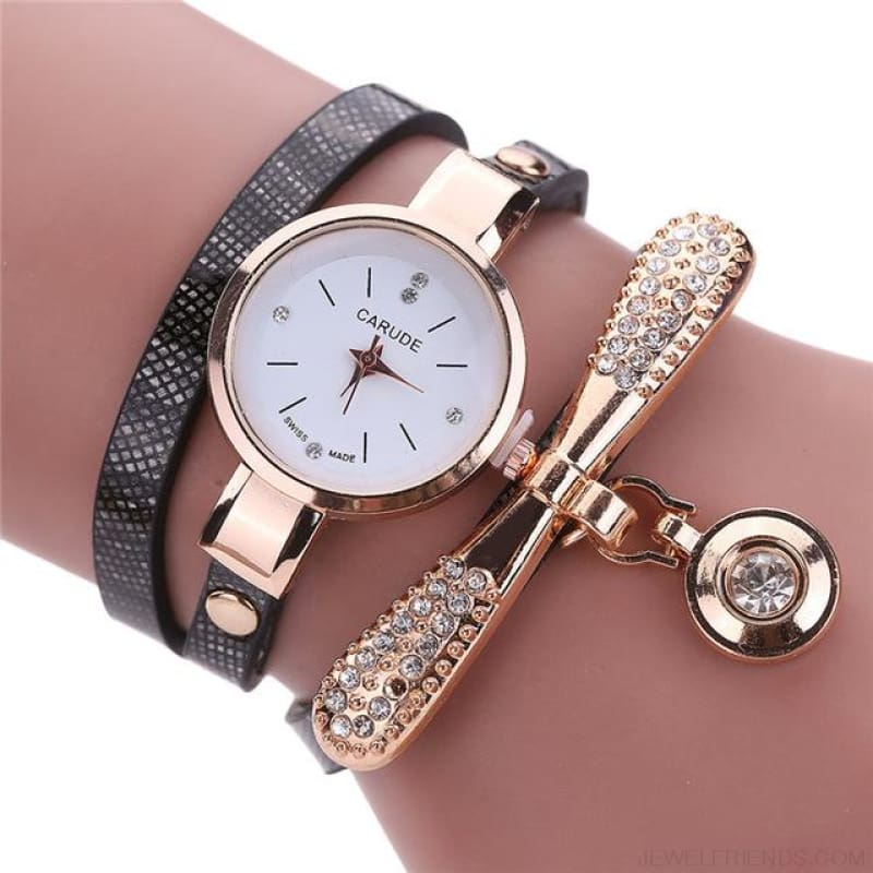 Luxury Rhinestone Multilayer Leather Watch Analog Quartz Wristwatch - As Picture 1 - Custom Made | Free Shipping