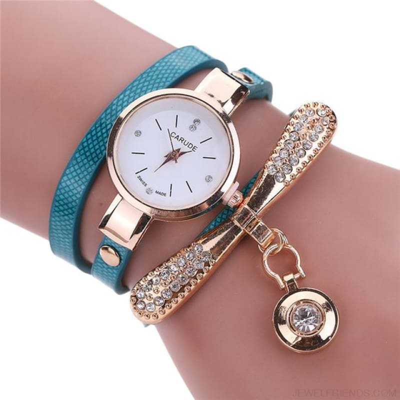 Luxury Rhinestone Multilayer Leather Watch Analog Quartz Wristwatch - As Picture 2 - Custom Made | Free Shipping