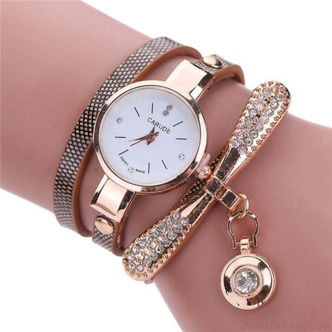 Luxury Rhinestone Multilayer Leather Watch Analog Quartz Wristwatch - As Picture 3 - Custom Made | Free Shipping