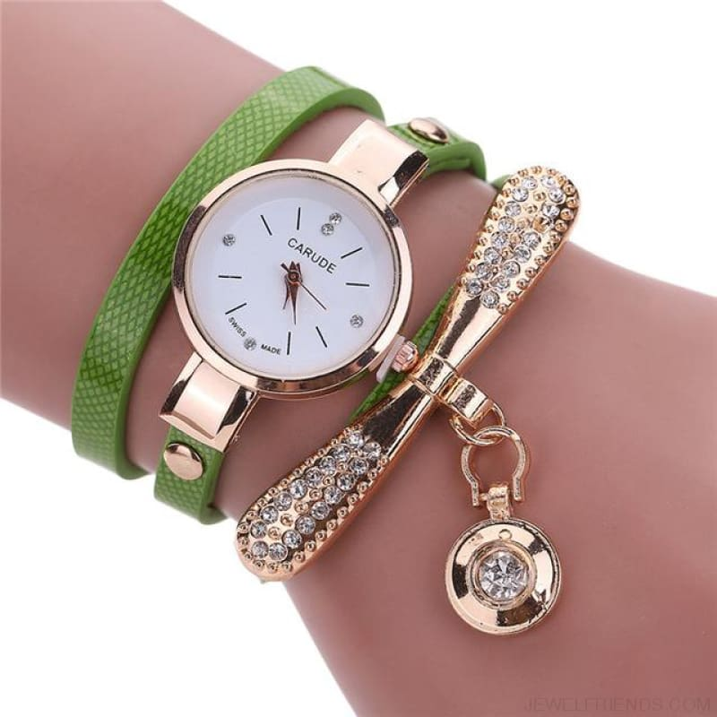 Luxury Rhinestone Multilayer Leather Watch Analog Quartz Wristwatch - As Picture 5 - Custom Made | Free Shipping
