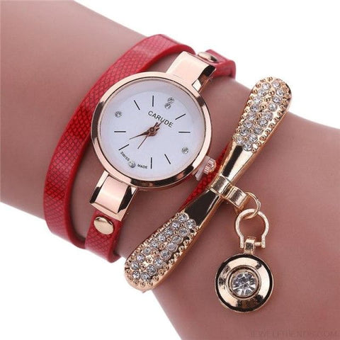 Image of Luxury Rhinestone Multilayer Leather Watch Analog Quartz Wristwatch - As Picture 7 - Custom Made | Free Shipping