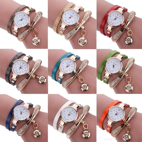 Luxury Rhinestone Multilayer Leather Watch Analog Quartz Wristwatch - Custom Made | Free Shipping