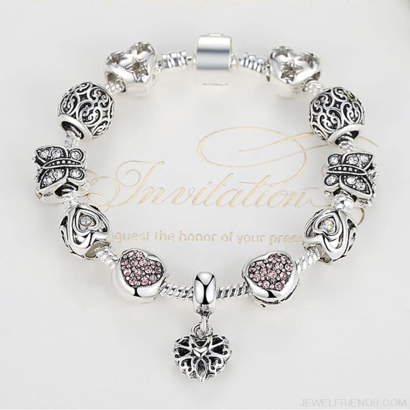 Luxury Silver Crystal Charm Bracelet Heart Pendant - Custom Made | Free Shipping