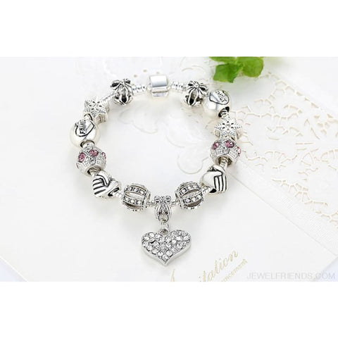 Image of Luxury Silver Crystal Charm Bracelet Heart Pendant - Custom Made | Free Shipping