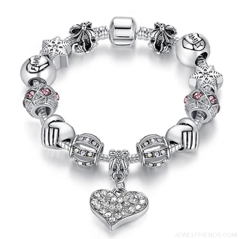 Luxury Silver Crystal Charm Bracelet Heart Pendant - Ps3307 / 18Cm - Custom Made | Free Shipping