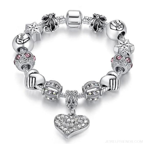 Image of Luxury Silver Crystal Charm Bracelet Heart Pendant - Ps3307 / 18Cm - Custom Made | Free Shipping