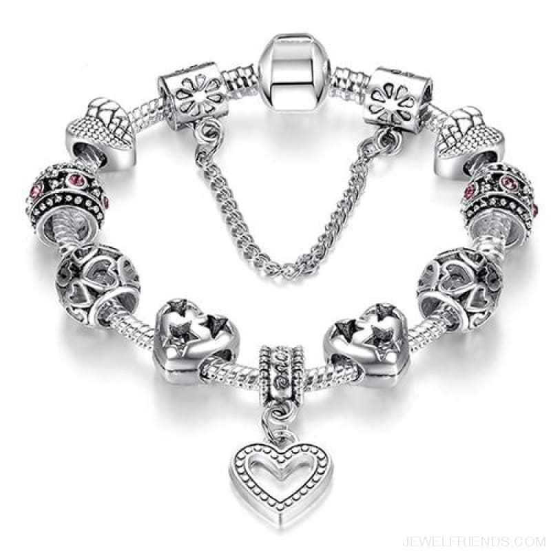 Luxury Silver Crystal Charm Bracelet Heart Pendant - Ps3738 / 18Cm - Custom Made | Free Shipping