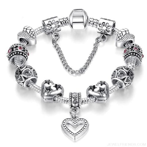 Image of Luxury Silver Crystal Charm Bracelet Heart Pendant - Ps3738 / 18Cm - Custom Made | Free Shipping