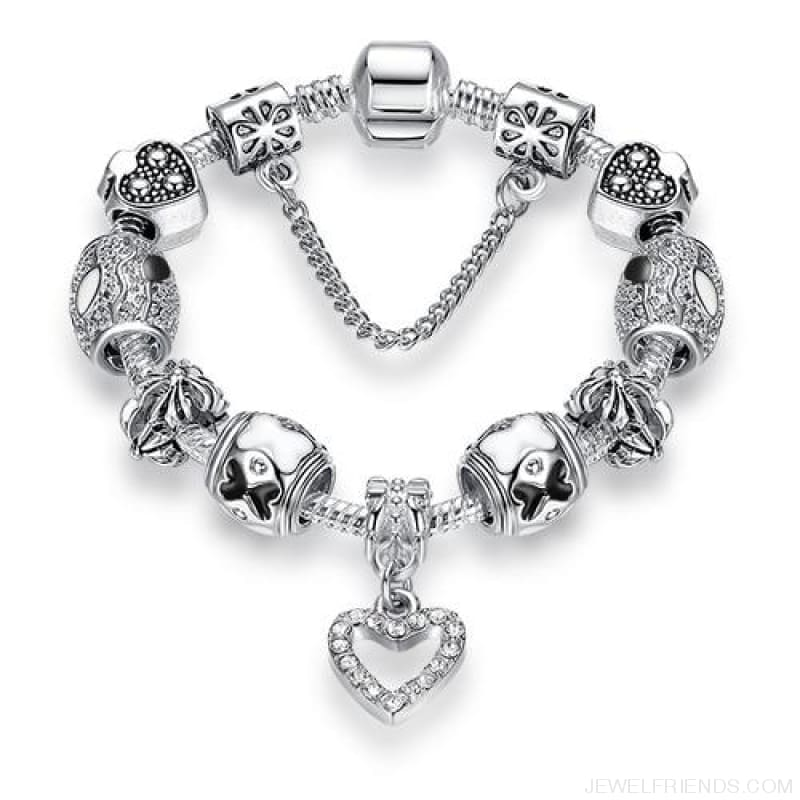 Luxury Silver Crystal Charm Bracelet Heart Pendant - Ps3742 / 18Cm - Custom Made | Free Shipping