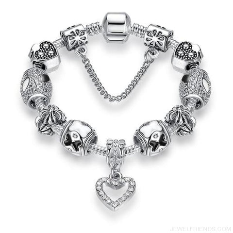 Image of Luxury Silver Crystal Charm Bracelet Heart Pendant - Ps3742 / 18Cm - Custom Made | Free Shipping