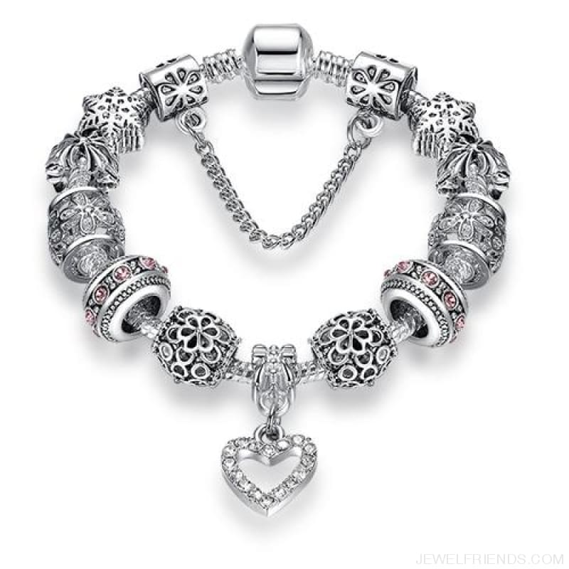 Luxury Silver Crystal Charm Bracelet Heart Pendant - Ps3743 / 18Cm - Custom Made | Free Shipping