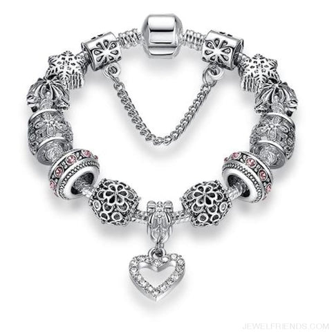 Image of Luxury Silver Crystal Charm Bracelet Heart Pendant - Ps3743 / 18Cm - Custom Made | Free Shipping