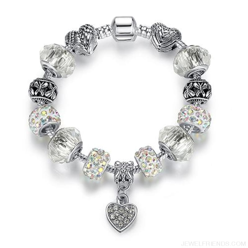 Luxury Silver Crystal Charm Bracelet Heart Pendant - Ps3797 / 18Cm - Custom Made | Free Shipping