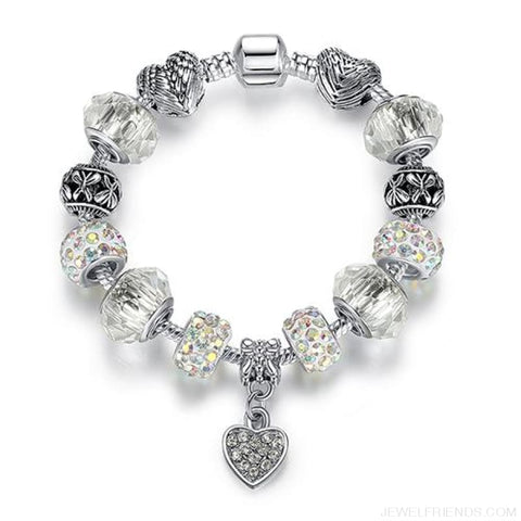 Image of Luxury Silver Crystal Charm Bracelet Heart Pendant - Ps3797 / 18Cm - Custom Made | Free Shipping