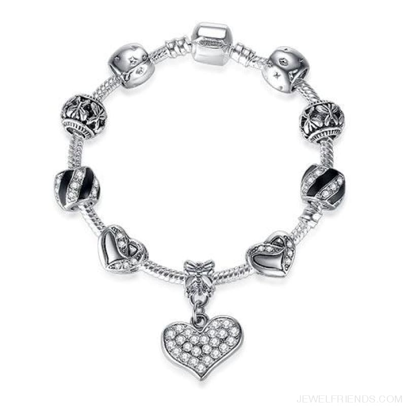 Luxury Silver Crystal Charm Bracelet Heart Pendant - Ps3839 / 18Cm - Custom Made | Free Shipping