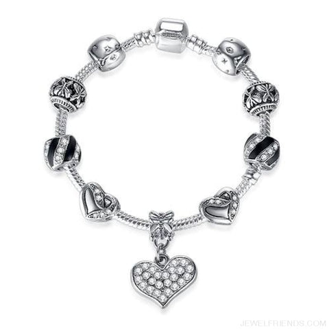 Image of Luxury Silver Crystal Charm Bracelet Heart Pendant - Ps3839 / 18Cm - Custom Made | Free Shipping