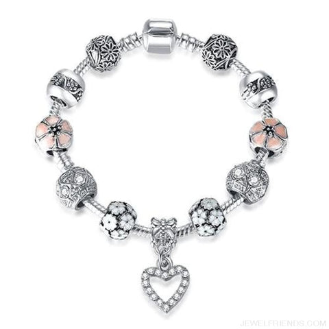 Image of Luxury Silver Crystal Charm Bracelet Heart Pendant - Ps3840 / 18Cm - Custom Made | Free Shipping