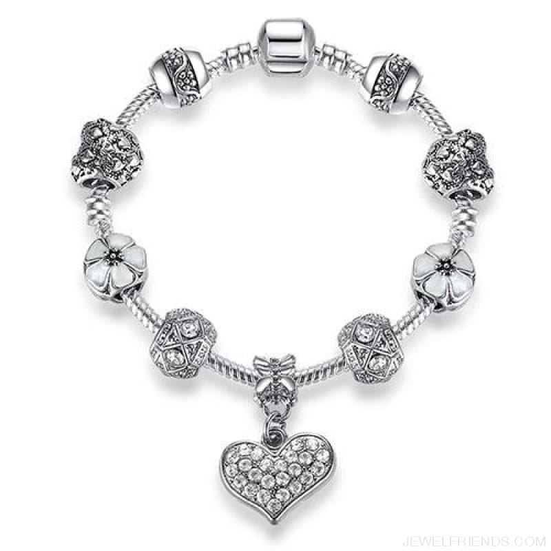 Luxury Silver Crystal Charm Bracelet Heart Pendant - Ps3858 / 18Cm - Custom Made | Free Shipping