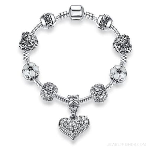 Image of Luxury Silver Crystal Charm Bracelet Heart Pendant - Ps3858 / 18Cm - Custom Made | Free Shipping