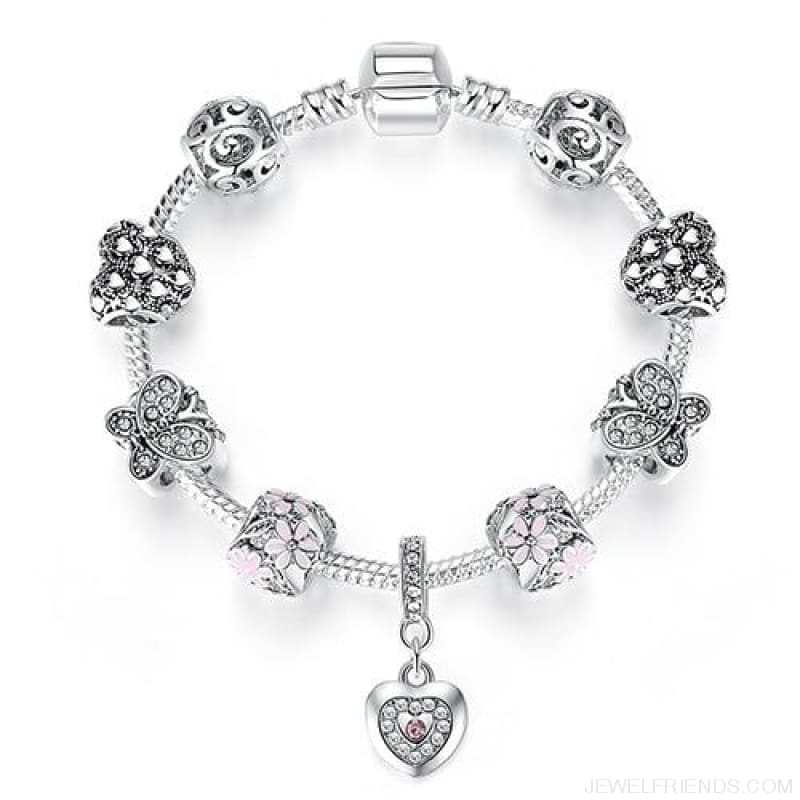 Luxury Silver Crystal Charm Bracelet Heart Pendant - Ps3861 / 18Cm - Custom Made | Free Shipping