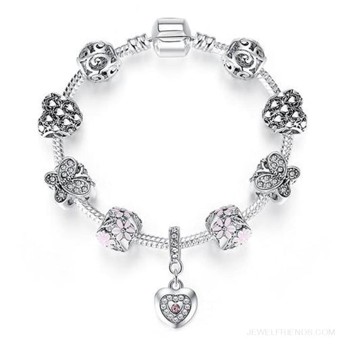 Image of Luxury Silver Crystal Charm Bracelet Heart Pendant - Ps3861 / 18Cm - Custom Made | Free Shipping