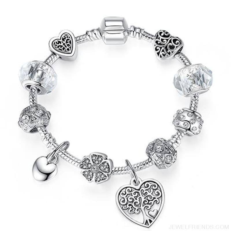 Luxury Silver Crystal Charm Bracelet Heart Pendant - Ps3863 / 18Cm - Custom Made | Free Shipping