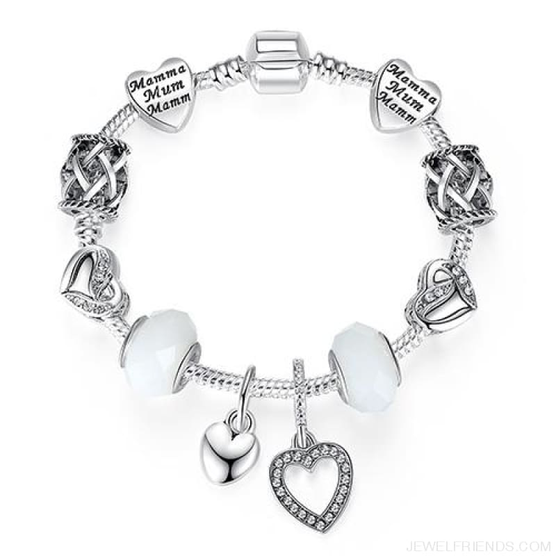 Luxury Silver Crystal Charm Bracelet Heart Pendant - Ps3864 / 18Cm - Custom Made | Free Shipping