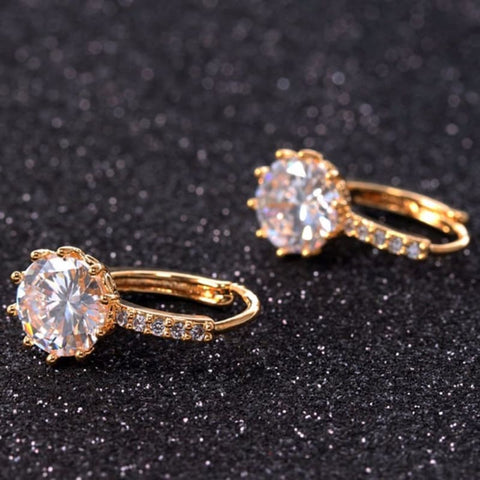 Image of Luxury Small Hoop Cubic Zirconia Earrings - Custom Made | Free Shipping
