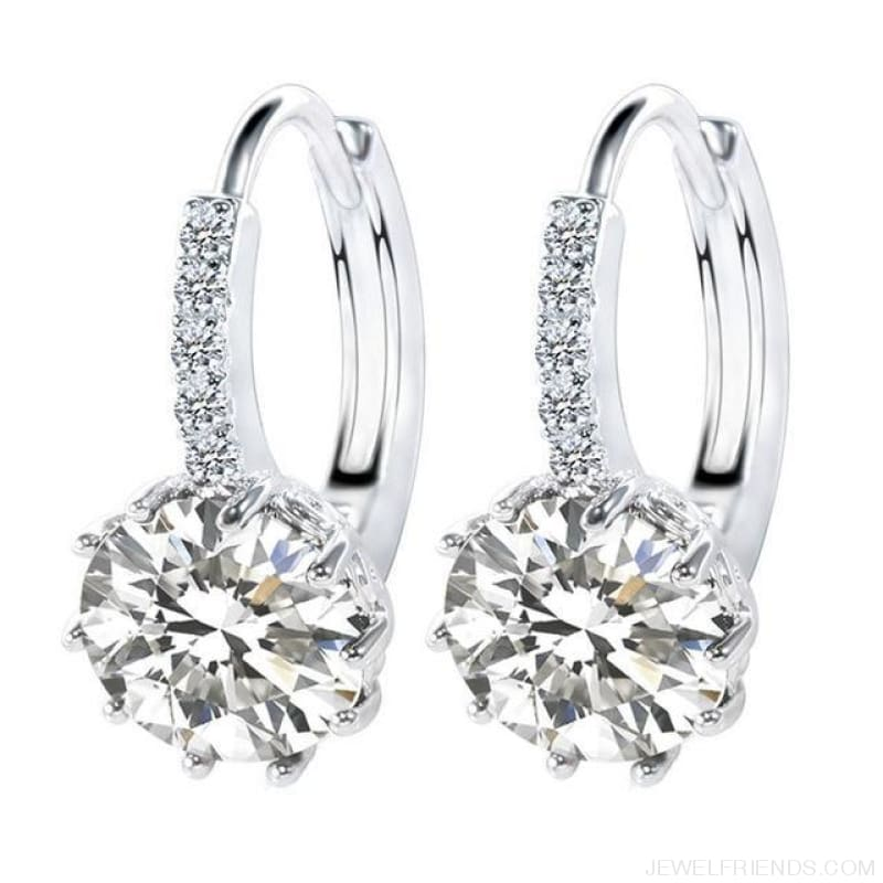 Luxury Small Hoop Cubic Zirconia Earrings - Wg579110 - Custom Made | Free Shipping