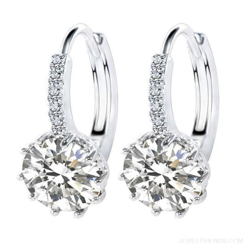 Image of Luxury Small Hoop Cubic Zirconia Earrings - Wg579110 - Custom Made | Free Shipping