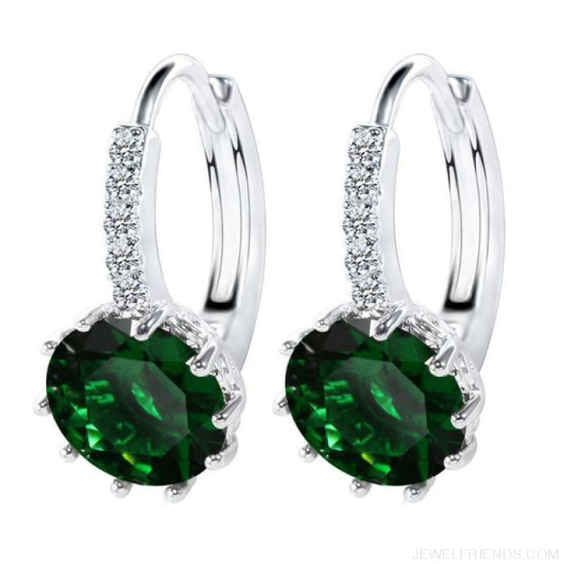Luxury Small Hoop Cubic Zirconia Earrings - Wg57912 - Custom Made | Free Shipping