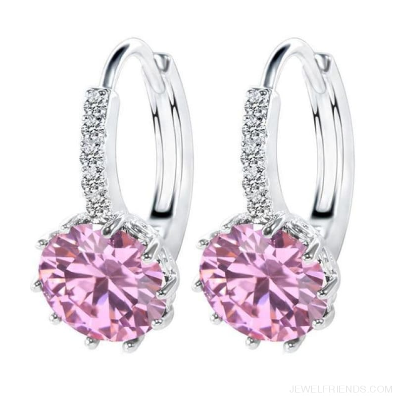 Luxury Small Hoop Cubic Zirconia Earrings - Wg57913 - Custom Made | Free Shipping