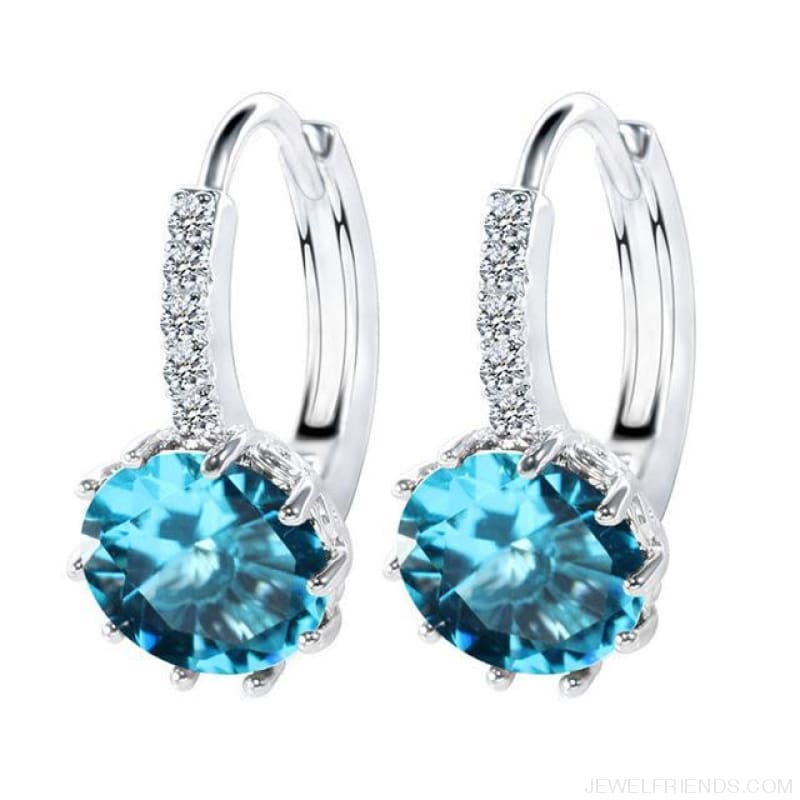 Luxury Small Hoop Cubic Zirconia Earrings - Wg57914 - Custom Made | Free Shipping